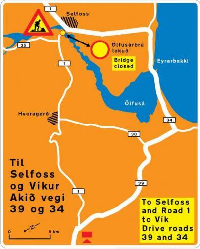 Ölfusá bridge closed