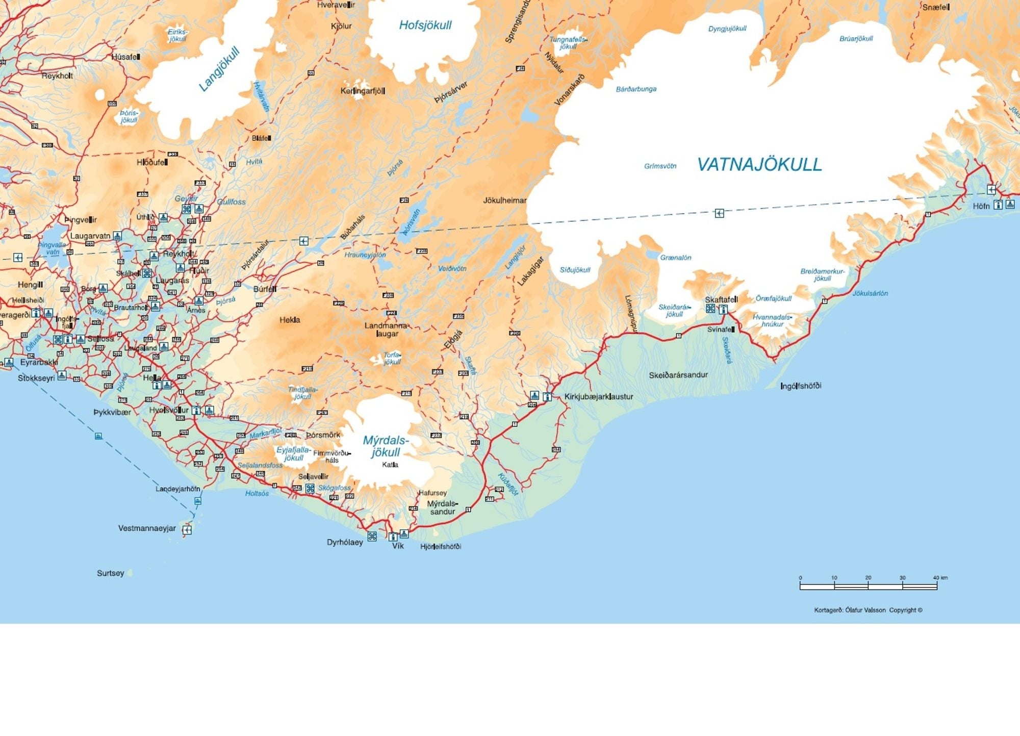 South Iceland – East Coast Tourist Attractions Map