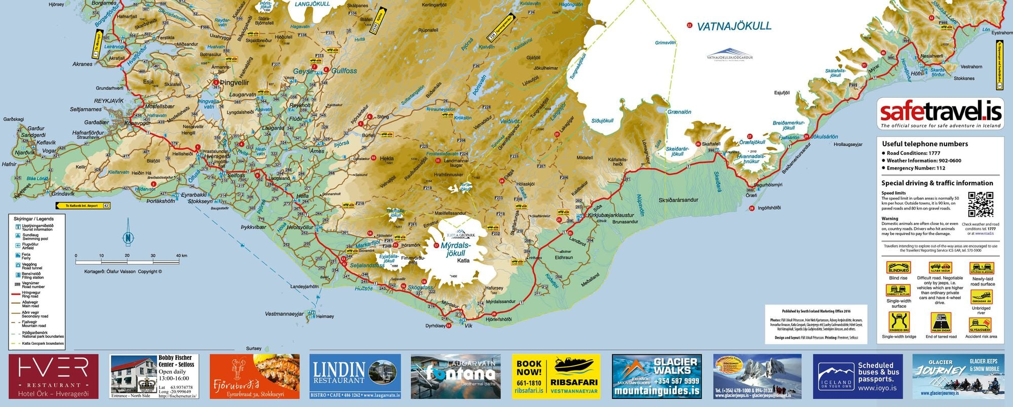 Map of South Iceland – Iceland Tourist Attractions Map