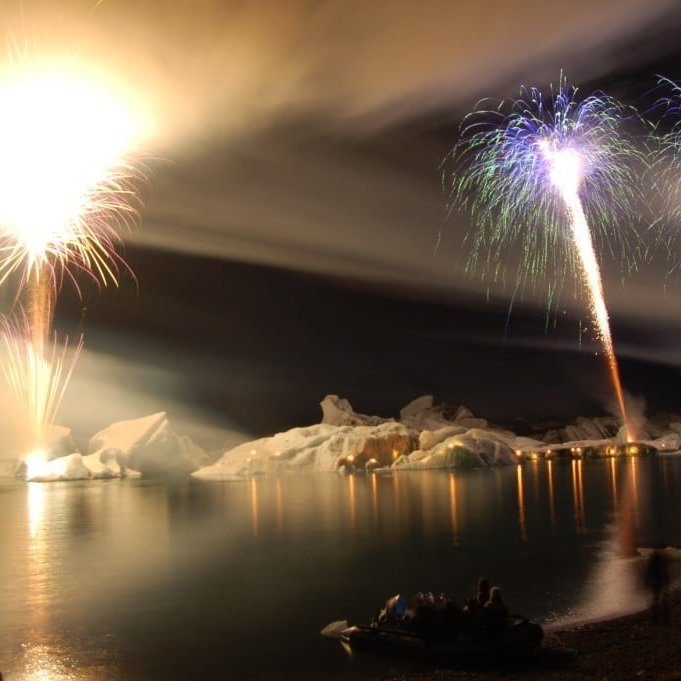 Fireworks at the Glacier lagoon