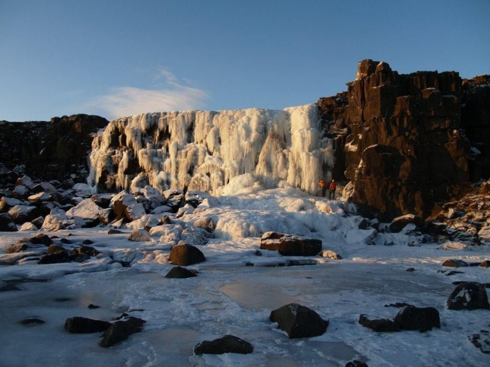 Öxarárfoss in Þingvellir in winter
