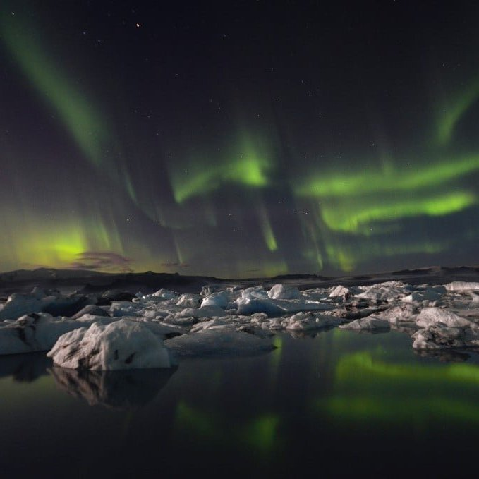 Northern Lights over Jökulsárlón