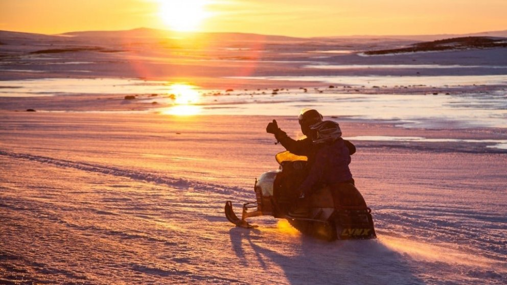 Snowmobiling into the sunset